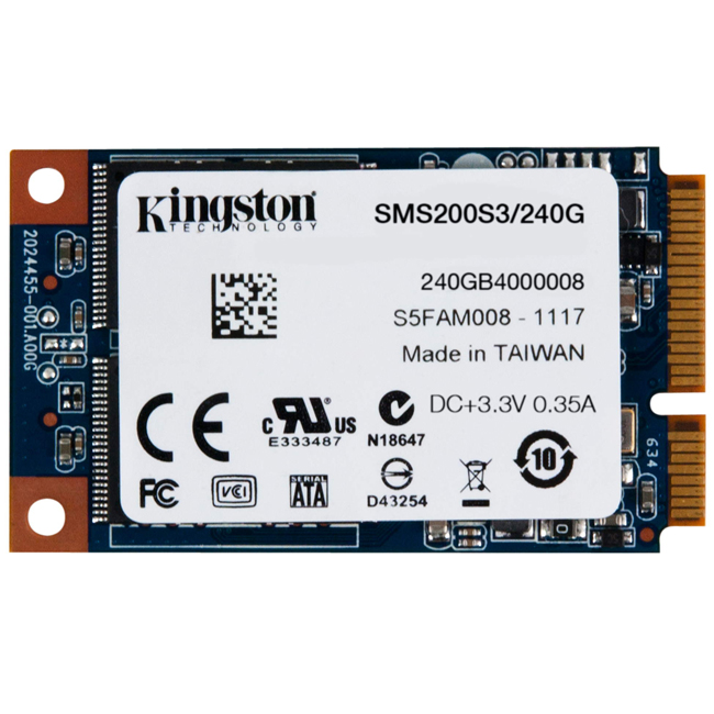 Диск SSD Kingston SSDNow mS200 mSATA 240GB SATA III (6Gb/s), SMS200S3/240G