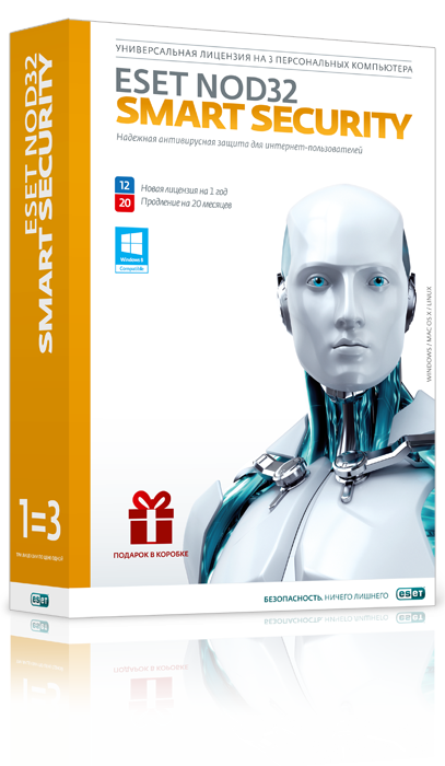 Право пользования ESET NOD32 Smart Security Рус. 3 Box 12 мес., NOD32-ESS-2012RN(BOX)-1-1