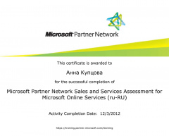 Мамсик (Купцова) А. А. - Microsoft Partner Network Sales and Services 2012