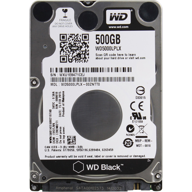 "Диск HDD Western Digital Black SATA III (6Gb/s) 2.5"" 500GB, WD5000LPLX"