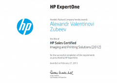 Зубеев А. В. HP Sales Certified Imaging and Printing Solutions 2013