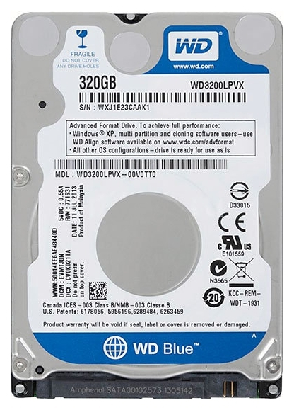 "Диск HDD Western Digital Blue SATA III (6Gb/s) 2.5"" 320GB, WD3200LPCX"