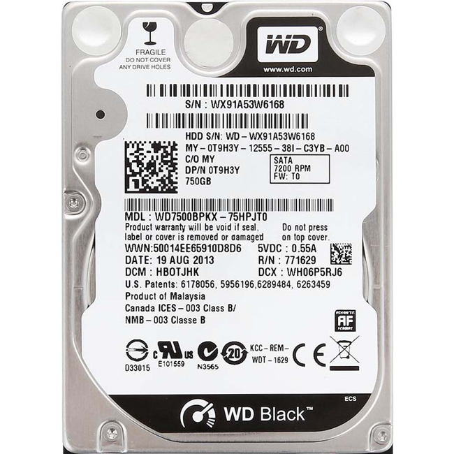 "Диск HDD Western Digital Black SATA III (6Gb/s) 2.5"" 750GB, WD7500BPKX"
