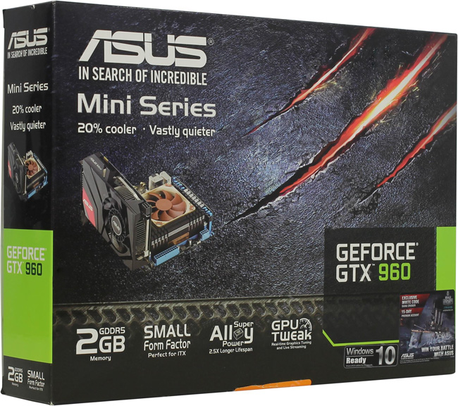 Видеокарта Asus nVidia GeForce GTX 960 GDDR5 2GB, GTX960-M-2GD5