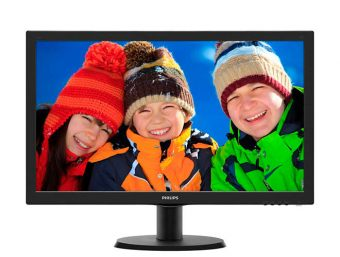 "Монитор Philips - 243V5LHSB, 23.6"", 16:9, LED, TN, 5ms, 250cd/m², 1000:1, 1920x1080 (Full HD), 75Hz, VGA, 1x DVI, 1x HDMI, цвет Чёрный, 243V5LHSB/01"