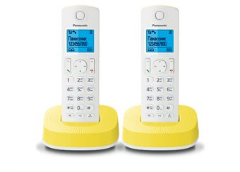 DECT-телефон Panasonic - KX-TGC312RU, standby time 200h, talk time 16h, 2-handset, phone book 50 numbers, search handset, Белый/Желтый, KX-TGC312RUY