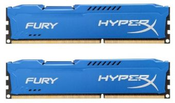 Комплект памяти Kingston - HyperX FURY Blue, 16GB, DIMM DDR3, non ECC, 1600MHz, D8 (2Rx8), CL10, 1.5В, (2х8ГБ), HX316C10FK2/16