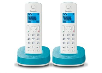 DECT-телефон Panasonic - KX-TGC312RU, standby time 200h, talk time 16h, 2-handset, phone book 50 numbers, search handset, Белый/Голубой, KX-TGC312RUC