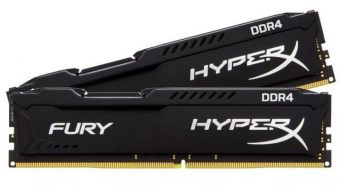 Комплект памяти Kingston HyperX FURY Black 8ГБ DIMM DDR4 non ECC 2133МГц S8 (1Rx8) CL14 1.2В (2шт.) HX421C14FBK2/8