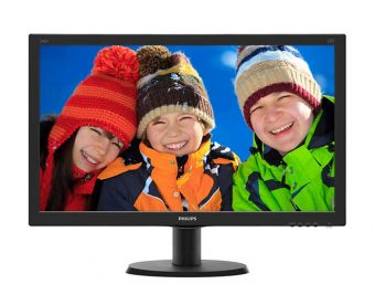 "Монитор Philips - 240V5QDSB, 23.8"", 16:9, LED, IPS, 5ms, 250cd/m², 1000:1, 1920x1080 (Full HD), 75Hz, VGA, 1x DVI, 1x HDMI, цвет Чёрный, 240V5QDSB/01"