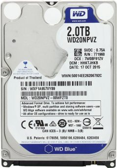 Диск HDD  Western Digital - Blue, for Mobile, SATA III (6Gb/s), 2TB, 5K, 8MB, 15мм, WD20NPVZ