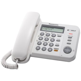 Проводной телефон Panasonic - KX-TS2358RU, 1-line, phone book 50 numbers, LCD, caller ID, spikerphone, mic mute, ring led, clock, wall mount, Белый, KX-TS2358RUW