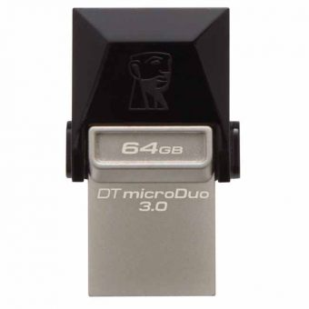 USB накопитель Kingston DataTraveler microDuo 3.0 USB 3.0 64GB Чёрный DTDUO3/64GB - фото 1
