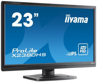 "Монитор Iiyama - X2380HS, 23"", 16:9, LED, IPS, 5ms, 250cd/m², 1000:1, 1920x1080 (Full HD), 75Hz, VGA, 1x DVI, 1x HDMI, speakers, цвет Чёрный, X2380HS-B1 - фото 1"