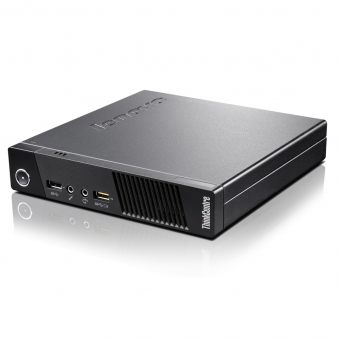 "Неттоп Lenovo - ThinkCentre M53 Tiny, Intel Celeron J1800 2410MHz, SODIMM DDR3L 4GB, SATA III (6Gb/s) 2.5"" 500GB + 8GB, Intel HD Graphics, noDVD, Чёрный, Windows 7 Professional 64 + Windows 8.1 Pro 64, 10DE0018RU - фото 1"