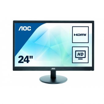 "Монитор AOC - E2470SWHE, 23.6"", 16:9, LED, TN, 5ms, 250cd/m², 1000:1, 1920x1080 (Full HD), 76Hz, VGA, 1x HDMI, цвет Чёрный, E2470SWHE - фото 1"