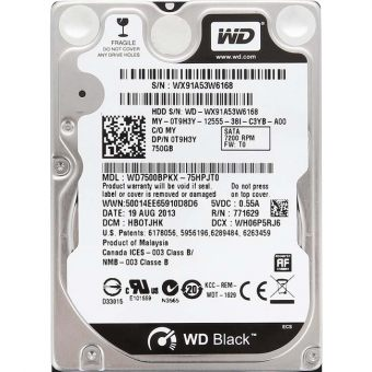 "Диск HDD Western Digital SATA III (6Gb/s) 2.5"" Black 7K 16MB 750GB WD7500BPKX"
