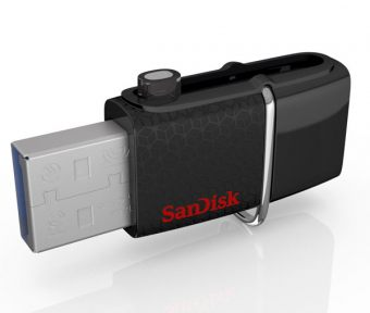USB накопитель SanDisk - Ultra Dual 3.0, USB 3.0, 64GB, read speed-150MB/s, OTG microUSB 3.0, цвет Чёрный, SDDD2-064G-GAM46 - фото 1