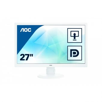 "Монитор AOC - I2770PQ, 27"", 16:9, PLS, 6ms, 300cd/m², 1000:1, 1920x1080 (Full HD), 76Hz, VGA, 1x DVI, 1x HDMI, 1x DP, HAS, pivot, speakers, цвет Серебристый, I2770PQ/GREY - фото 1"