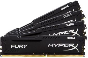 Комплект памяти Kingston HyperX FURY Black 16ГБ DIMM DDR4 non ECC 2400МГц CL15 1.2В (4шт.) HX424C15FBK4/16