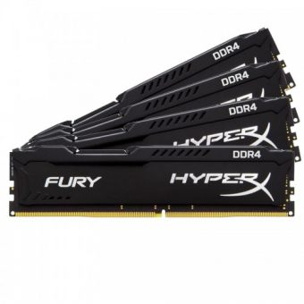 Комплект памяти Kingston HyperX FURY Black 16ГБ DIMM DDR4 non ECC 2666МГц CL15 1.2В (4шт.) HX426C15FBK4/16